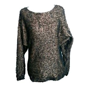 Belldini Furry Metallic Sweater Black & Gold sz L
